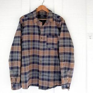 Mens APC Paris Flannel Workshirt Plaid Check Sz L